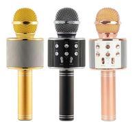 bluetooth mikrofon ipad großhandel-WS-858 Wireless Speaker Mikrofon Tragbarer Karaoke Hifi Bluetooth Player WS858 Für iphone 6 6s 7 ipad Samsung Tablets PC besser als Q7Q920