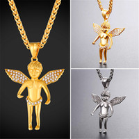Wholesale Gold Filled Collar - U7 Jewelry Cherub Angel Necklace With Austrian Rhinestone Stainless Steel Gold Plated Chain Baby Angel Collar GP2708