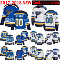 tj oshie jersey venda por atacado-St. Louis Blues personalizados 2017-2018 New 70 Oskar Sundqvist 99 Wayne Gretzky Jersey Mens 74 TJ Oshie 42 David Backes Jerseys