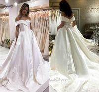 Wholesale sexy engagement party dresses resale online - White Wedding Dresses Satin A Line Off the Shoulder Tops Lace Appliques Sweep Train Elegant Engagement Dresses for Wedding Party