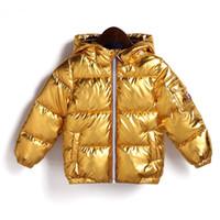 bebek sıcak kıyafeti toptan satış-Çocuk Kış Ceket Erkek Kız Gümüş Altın Rahat Kapüşonlu Ceket Bebek Sıcak Giyim Dış Giyim Çocuklar Parka Ceket Uzay Suit