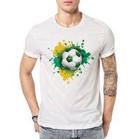Wholesale fun piece - 2 Piece Summer World Cup Youth Tee Fun Football Printed Short-sleeved T-shirt Street Wear Man T-shirts Top