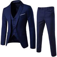 ingrosso blazers tre pezzi per gli uomini-Abiti Setwell Maschio Tre pezzi Mens Slim Fit monopetto abiti da uomo su misura da sposa made Wedding Tuxedo serie di abiti (Vest + Pants + Blazer)