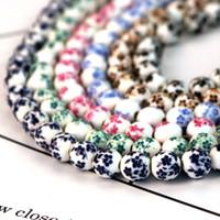 porzellan perlen blumen großhandel-50 teile / los 8mm Großes Großes Loch Keramikperlen Blumendruck Porzellan Perlen Handgemachte DIY Schmuck Machen Zubehör