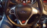 ford volante cubre al por mayor-Cool Sport ST Logo Volante Lentejuelas Pegatina ABS Cromo Etiqueta de la cubierta para Ford Fiesta Ecosport 2009 - 2015 Accesorios para automóviles