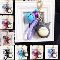 mode karabiner schlüsselbund großhandel-Anime Totoro Keychain mit Glocke Karabiner Keychain Schlüsselanhänger Halter Tasche hängt Modeschmuck für Frauen Kinder Geschenk Drop Shipping