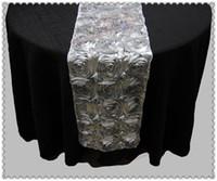 corredores de mesa para casamentos venda por atacado-Frete grátis 20 pcs Rosette Table Runner para Casamentos Eventos, Silver Table Runner para Casamentos Eventos Banquete Festa Decorações