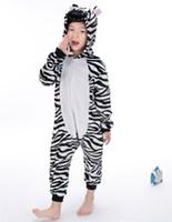 ropa de cebra para niño de niños al por mayor-Dibujos animados de cebra bebés niños niñas pijamas ropa para niños Unisex niños Onesies ropa de dormir fiesta escolar Cosplay MX-021