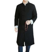 casaco de lã macho longo venda por atacado-Longo Trench Coat Masculino Casaco Gola Casaco de Alta Qualidade Blusão de Cor Preta dos homens Tradicionais Chinesas Roupas Trench