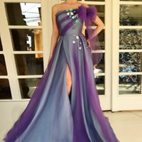 Wholesale cheap prom dresses online - 2018 New Arrival Strapless A Line Split Evening Dresses Hand Made Flower Ruffle Prom Gown Zipper Back Formal Party Dress Free Ship Cheap