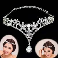 accesorios para el cabello indio al por mayor-Corazón de cristal Flor de la frente Joyería india del pelo Rhinestone de plata Novia de la boda Novia Corona del pelo Accesorios para la cabeza