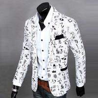 Wholesale men s linen coat - Wholesale-Pop Mens Casual jackets Suit Slim Fit Printing Long Sleeve One Button Blazers Coat Jacket 167