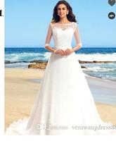 Wholesale sash brush online - Applique A Line Zipper Up Sweep Brush Train Wedding Dress