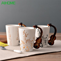 Wholesale Novelty Guitars - Novelty Guitar Ceramic Cup Personality Music Note Milk Juice Lemon Mug Coffee Tea Cup Home Office Drinkware Unique Gift