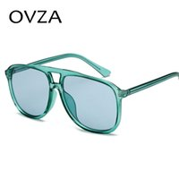 Wholesale m sunglasses brands resale online - OVZA Fashion Sunglasses Brand Woman Pilot Style Sunglass M Beautiful Translucent Glasses Pink Yellow gafas de sol mujer S6058