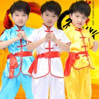 ropa wushu al por mayor-Los niños Dobok Traje tradicional chino de Wushu Taekwondo Ropa de judo de kimono Traje de Kung Fu Traje de Tai Chi de artes marciales