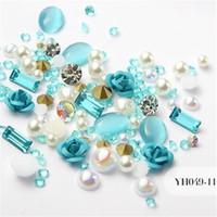 suministros de arte de uñas brillo al por mayor-12 Colores 3D Rose Flower Nail Art Decoraciones Glitter Diamond Pearl Nail Art Supplies Maquillaje de Uñas DIY