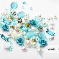 parıltılı tırnak töreni malzemeleri toptan satış-12 Renkler 3D Gül Çiçek Nail Art Süslemeleri Glitter Elmas Inci Nail Art Malzemeleri Tırnak Makyaj DIY