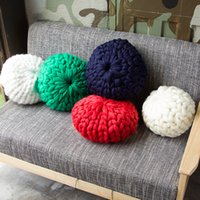 Wholesale c wool - New Fashion Hand Knit Pillows Fake Wool Throw Pillow Photography Take Photo Prop Multi Color 45kr3 C R