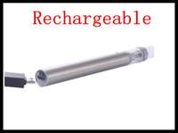 Wholesale vape burner coil pens resale online - bottom charger vape pen e cigarette kit ceramic coil smoking glass tank vaporizer e smoking wax co2 oil burner dhl free