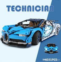 coches de carreras de ladrillos al por mayor-Lepin 20086 4031 Unids Serie Technic Super Car Racing Azul Bugatti Chiron Bloques de Construcción Ladrillos Juguetes para Niños Modelo de Coche Regalos Legoing 42083