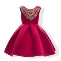 Wholesale Baby Girl Kids Dress Wedding - Baby Girl Dress Fashion Bowknot Embroidery Outfits Gold Boat Neck Dress Kids Wedding Clothes Girl Party Princess Dress Birthday Christmas