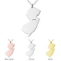ingrosso nj oro-Mini New Jersey Mappa Collana NJ Collana in acciaio inossidabile Moda Donna Collane Bigiotteria Accessori Dichiarazione Regalo Oro Argento Oro rosa