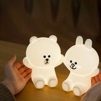 Wholesale rabbit lamps - Novel Cute Bear Rabbit Mini LED Rechargeable USB Night Light Led Lights For Home Baby Lamp Birthday Christmas Gift
