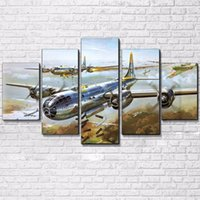ingrosso stampe di tela di canapa d'epoca-Canvas HD Prints Dipinti Home Decor For Living Room Wall Art 5 Pezzi Jet Aircraft Immagini Vintage Air Plane Poster Art