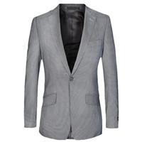 şampanya balo takımları toptan satış-Slim Fit Blazer Erkek iş Suit ceket bir Düğme Blazers Erkekler Klasik Gri Erkek ceketler Champagne Smokin Balo Suits Tasarımları