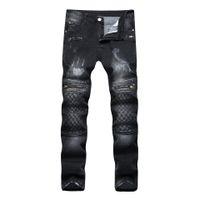 Mens Washed Street Style Jeans Blackgray Skinny Bleached Biker Jeans New  Arrivals Lining Design Scratched Denim Pants 424e0417d44f