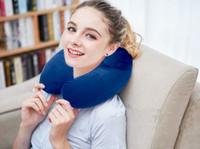 almofada em forma de u inflável venda por atacado-Em forma de U travesseiro corcunda travesseiro inflável de viagem de avião travesseiro de pescoço inflável de três peças de viagem viajar três tesouros tampões de ouvido máscara de olho