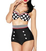 Wholesale vintage polka dot bikini for sale - Group buy New Women Girl High Waist Bikini Sets Wave Pinup Rockabilly Vintage Sexy Swimsuit Swimwear Push Up Bathing Suit Beachwear