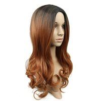 ingrosso parrucca bianca media-Parrucche sintetiche di colore marrone scuro riccio delle ombre di colore marrone scuro di ZF delle parrucche sintetiche di stile lungo del corpo per le donne nere bianche