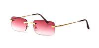 bağbozumu kenarsız güneş gözlüğü toptan satış-2018 Sıcak Unisex Erkek Kare Çerçevesiz Kırmızı Güneş Gözlüğü Optik Ince Tel Gümüş Altın Çerçeve Bayan Vintage Manda Boynuzu Yaz Gözler gözlük