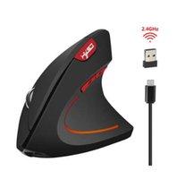ingrosso la guarigione della luce-Mouse wireless T22 Ergonomico ottico 2.4G 800/1200 / 1600DPI Colorful Light polso Healing Vertical Mouse per PC Windows