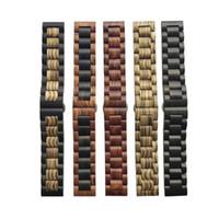 ingrosso pebble-Cinturino cinturino in materiale legno massello 22mm 20mm per Samsung Gear sport S2 S3 s4 Fascia Frontier amazfit bip Pebble fitbit versa moto