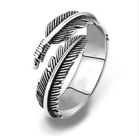 Wholesale wholesale china for sale - LNRRABC Gifts Alloy Unique Adjustable Resizable Feathers Women rings Men Graceful Allergy Free Couple s Silvery Retro ring