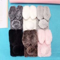 Wholesale huawei silicone 3d online - For Huawei Mate Pro Y9 P Smart Enjoy Plus V10 Rabbit Ear D Rabbit Hair Case Bling Diamond Fluffy Fur Cover Soft TPU Gel Skins
