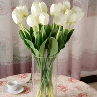 tulipas roxas artificiais venda por atacado-2017 NOVO Encantador Rosa Vermelho Amarelo Branco Vermelho Roxo Tulip Artificial Flor Casa Festa de Casamento Decoração Flor