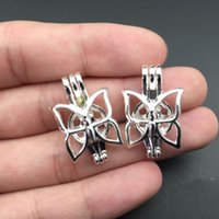 Wholesale Butterfly Locket Pendant - Pearl cage necklace pendant, essential oil diffuser, butterfly provides silver 10pc, adding your pearl more attractive.
