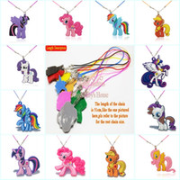 Wholesale stainless steel horse jewelry - Mixed 100pcs Beautiful Horses High Quality Cartoon Soft PVC Pendant+51cm Necklace Rope Chain Choker Necklace Kids Gifts Party Favors Jewelry