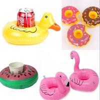 aufblasbare lustige tiere großhandel-Design Aufblasbare Becherhalter Flamingo Tier Ente Donut Drink Coaster Sommer Spaß Party Supplier Pool Spielzeug 2 7cs WW