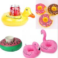 divertidos inflables animales al por mayor-Diseño Inflatable Cup Holder Flamingo Animal Duck Donut Drink Coaster Verano Diversión Party Supplier Pool Toy 2 7cs WW