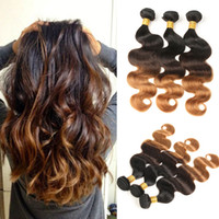 Wholesale buy remy human hair - Body Wave Ombre Peruvian Human Hair 3 Bundles T1B 4 30 Blonde Hair Extension Non Remy Hair Weave Can Buy More Pieces
