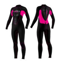 body rosa completo al por mayor-Slinx 3MM Traje de neopreno para mujer Traje completo de buceo Traje húmedo Traje de invierno Traje de surf cálido Natación Mono rosa Traje de baño
