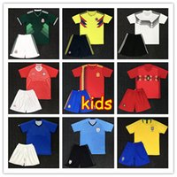 Wholesale Army Kid - 10 set free DHL kids kit Soccer Jerseys 2018 World Cup Argentina messi Belgium Brazil Colombia Mexico Spain Japan Uruguay child Full kit boy