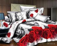 edredones marilyn monroe al por mayor-Marilyn monroe juegos de cama Conjunto de funda nórdica impresa reactiva / ropa de cama funda nórdica juego de cama de pintura al óleo 3d
