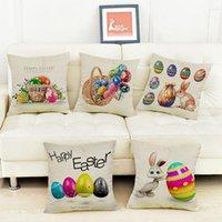 Wholesale Bunny Pillow - Easter Egg Animal Print Pillow Case 45*45cm Cartoon Rabbit Bunny Bedding Couch Decorative Festival Throw Pillows OOA4171