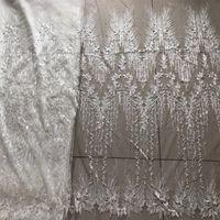 metros de encaje blanco al por mayor-1 metro de tela bordada para coser velo de novia telas blancas tejido net tejido de encaje voile remiendo translúcido DIY